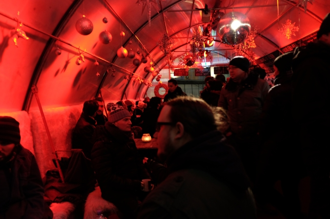 Inside market tent