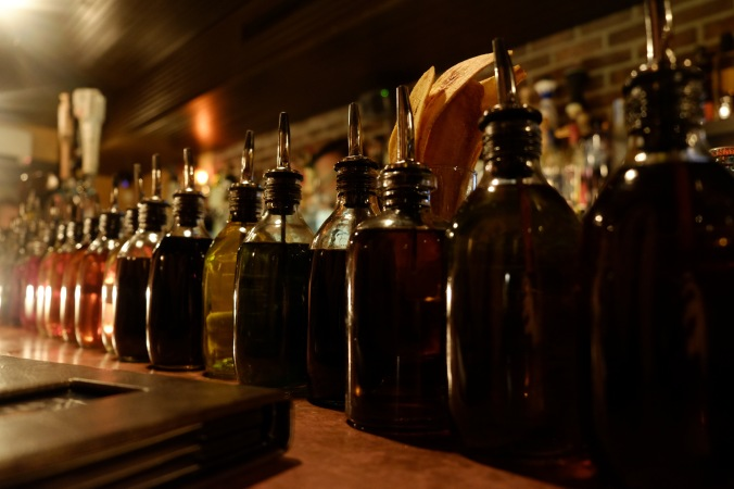 Bottles of bitters at Bathtub Gin
