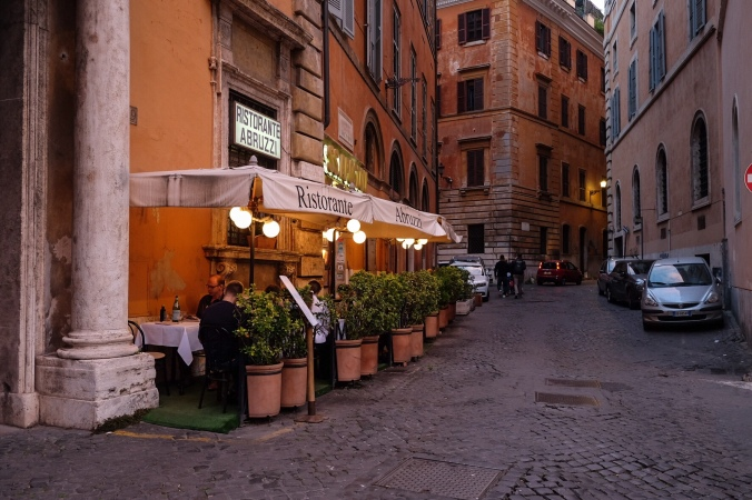 Outdoor seating at Ristorante Abruzzi seen from the street