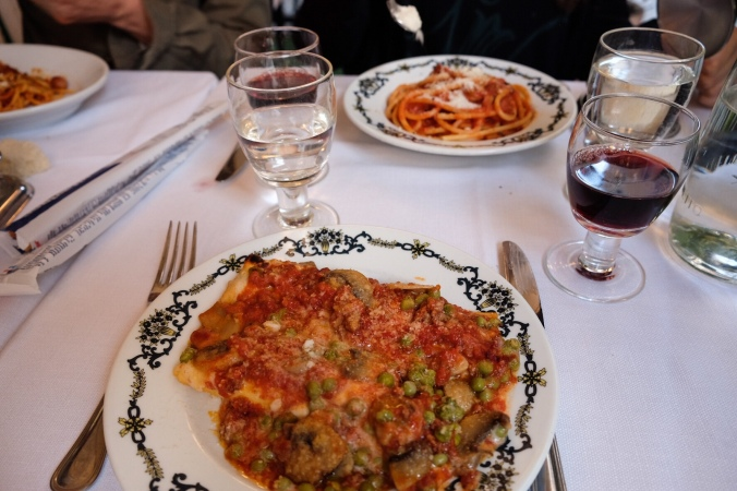 Traditional Italian pasta dishes at a Trattoria in Rome