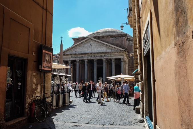 The Pantheon viewed from a street in Rome