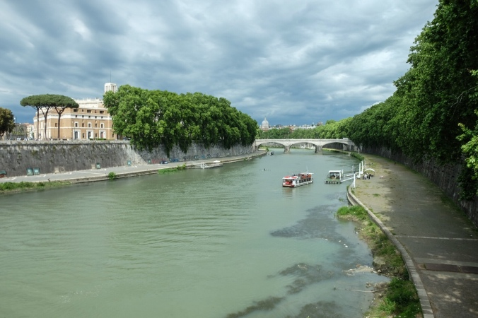 The River Tiber on an overcast day in Rome