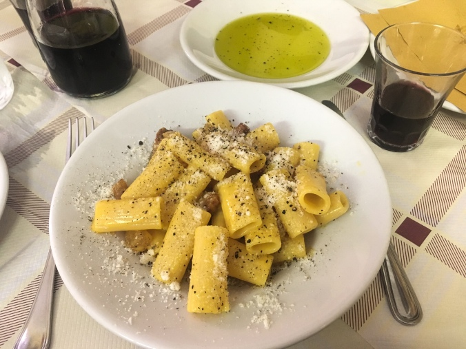 Pasta Carbonera at Trattoria Da Enzo in the Trastevere neighborhood in Rome