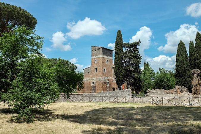 Historic building in the countryside along the Appia Antica