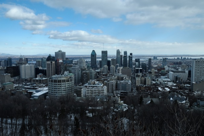 Cityscape view of Montreal from Mount Royal