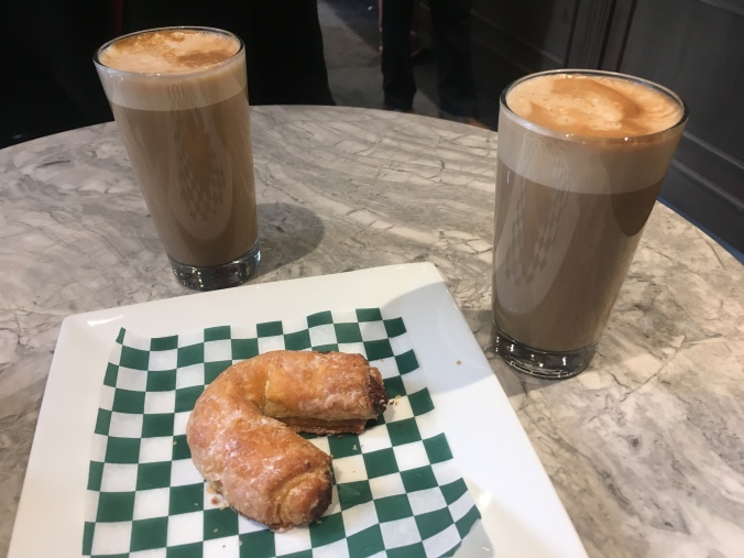 Image of coffee and cookies at the Italian Cafe Olimpico in Montreal