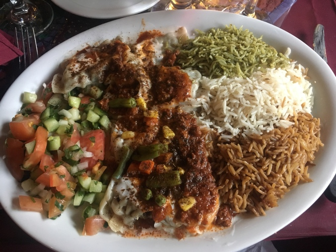 Full plate of food at the Afghan restaurant Khyber Pass in Montreal