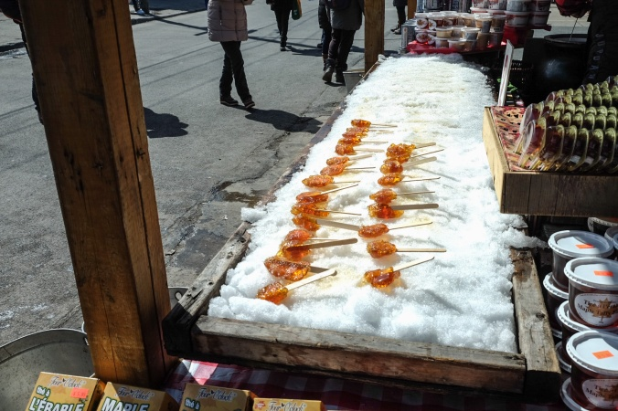 Jean Talon Market food vendor selling maple candies