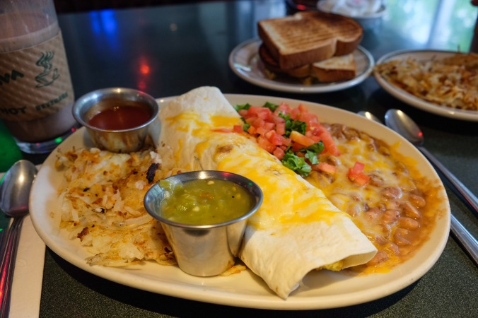 Our meal at Famous Plaza Cafe - breakfast burritos