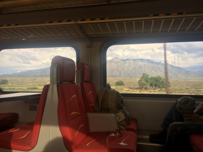 The mountain ranges visible from the train