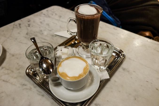 Coffee and hot chocolate on a tray