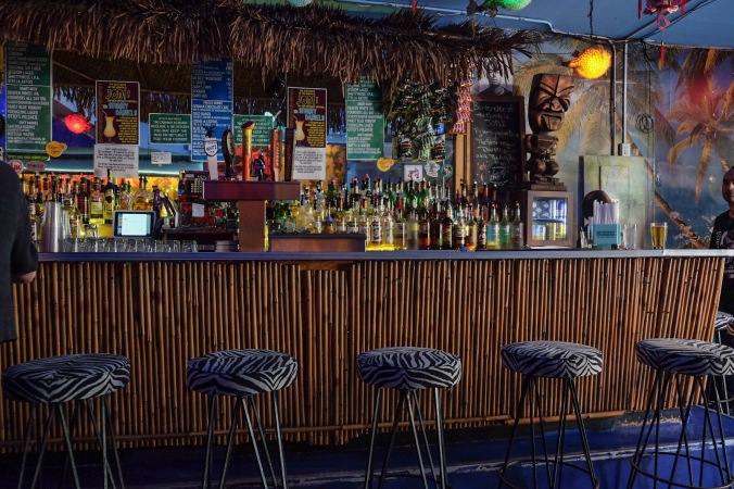 Tiki bar with tropical decorations